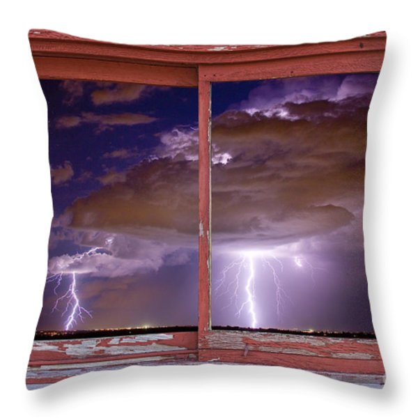 Double Trouble Lightning Picture Red Rustic Window Frame Photo A Throw Pillow by James BO  Insogna
