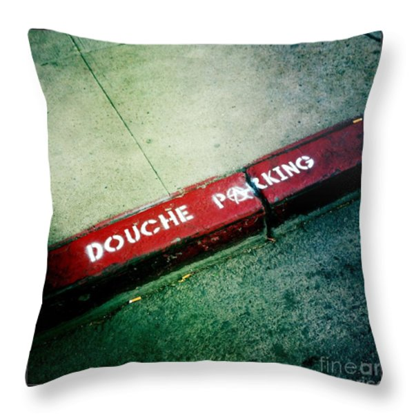 Douche Parking Throw Pillow by Nina Prommer