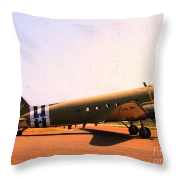 Douglas C47 Skytrain Military Aircraft . Painterly Style 7d15788 Throw Pillow by Wingsdomain Art and Photography