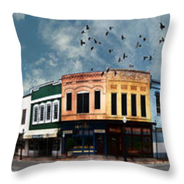 Downtown Bryan Texas Panorama 5 to 1 Throw Pillow by Nikki Marie Smith