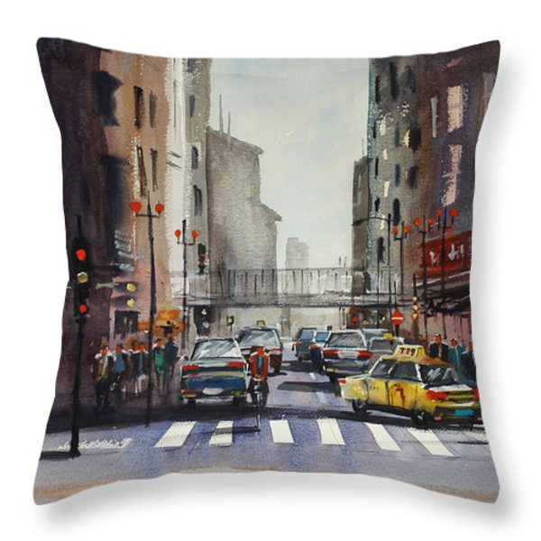 Downtown Chicago Throw Pillow by Ryan Radke