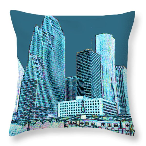 Downtown Houston Throw Pillow by Fred Jinkins