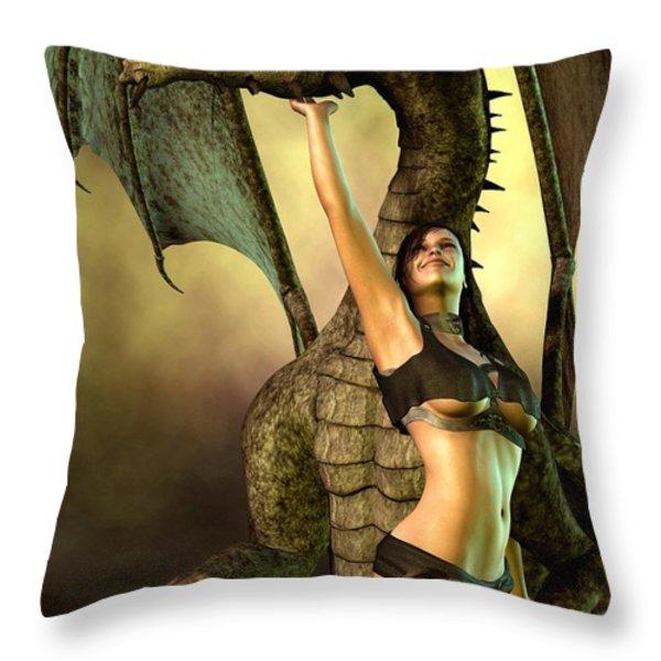 Dragon Lover Throw Pillow by Daniel Eskridge