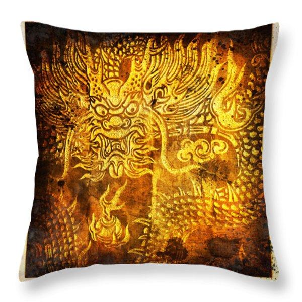 Dragon painting on old paper Throw Pillow by Setsiri Silapasuwanchai