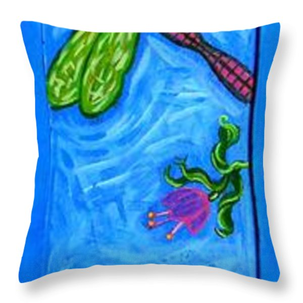 Dragonfly And Bee Throw Pillow by Genevieve Esson