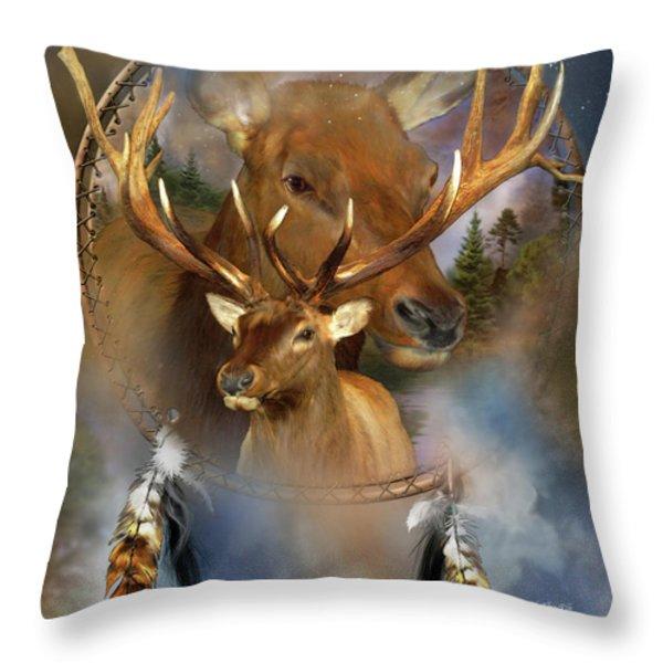 Dream Catcher - Spirit Of The Elk Throw Pillow by Carol Cavalaris