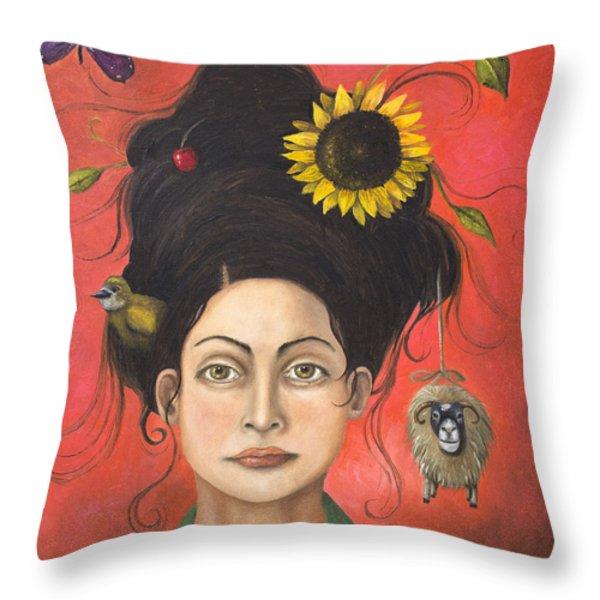 Dream Hair 2 Throw Pillow by Leah Saulnier The Painting Maniac
