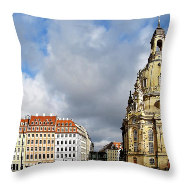 Dresden Church Of Our Lady And New Market Throw Pillow by Christine Till