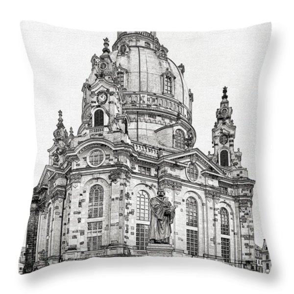 Dresden's Church Of Our Lady - Reminder Of Peace Throw Pillow by Christine Till