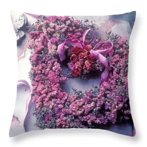 Dried flower heart wreath Throw Pillow by Garry Gay