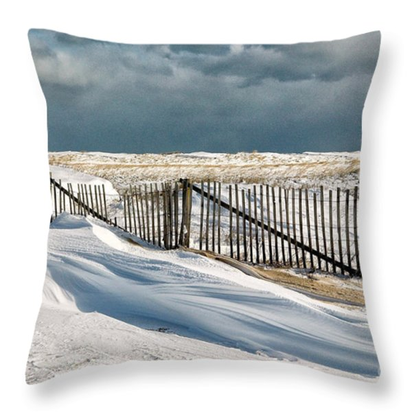 Drifting snow along the beach fences at Nauset Beach in Orleans  Throw Pillow by Matt Suess
