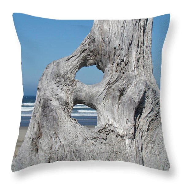 Driftwood Art Prints Coastal Blue Sky Ocean Waves Shoreline Throw Pillow by Baslee Troutman