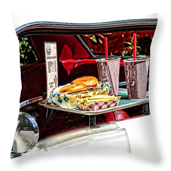 drive-in Throw Pillow by Rudy Umans