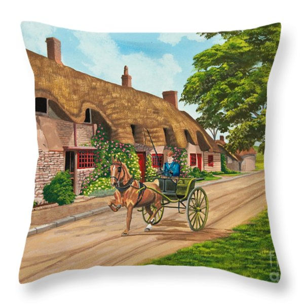 Driving a Jaunting Cart Throw Pillow by Charlotte Blanchard