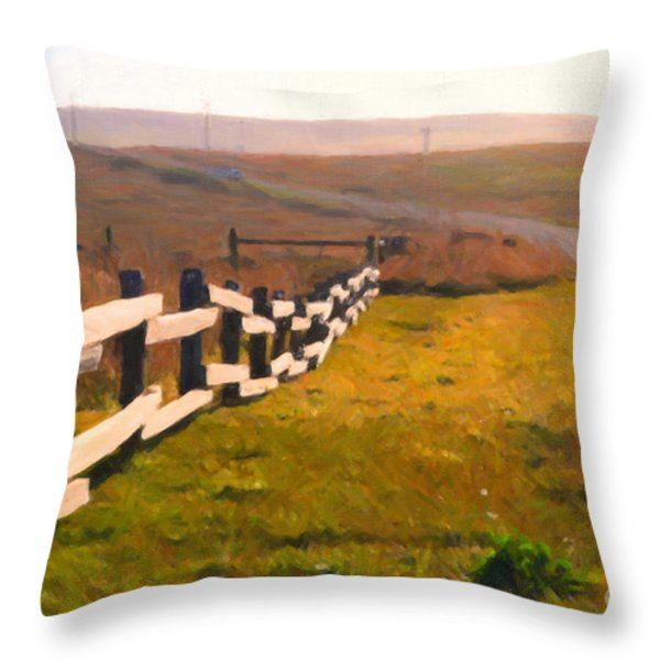 Driving Down The Lonely Highway . Study 1 . Painterly Throw Pillow by Wingsdomain Art and Photography