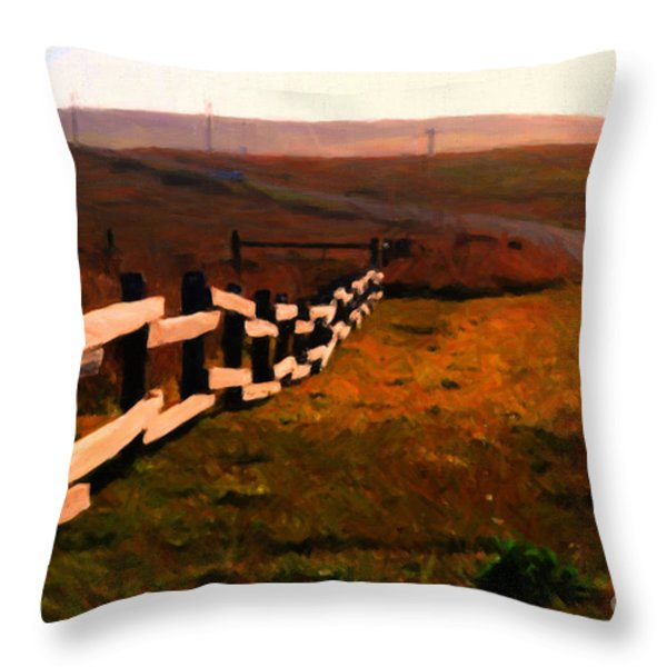Driving Down The Lonely Highway . Study 2 . Painterly Throw Pillow by Wingsdomain Art and Photography