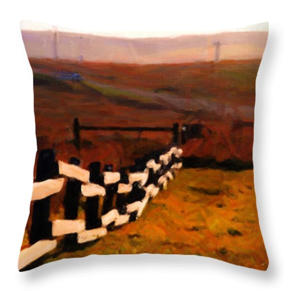 Driving Down The Lonely Road . Long Version Throw Pillow by Wingsdomain Art and Photography
