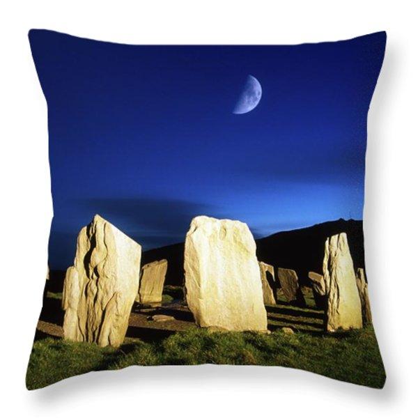 Drombeg, County Cork, Ireland Moon Over Throw Pillow by Richard Cummins