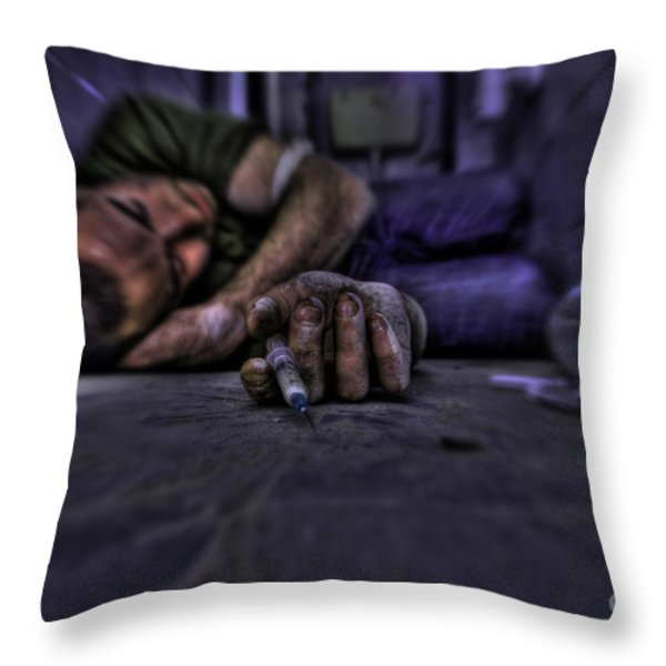 Drug addict shooting up Throw Pillow by Guy Viner