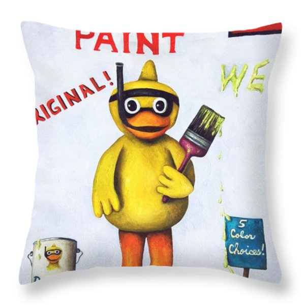 Duck Boy Paint Throw Pillow by Leah Saulnier The Painting Maniac