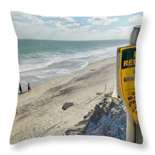 Dunes Rebuilding Keep off Grass and Dune Area Cape Cod Throw Pillow by Matt Suess