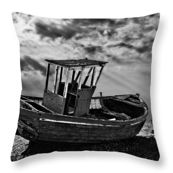 Dungeness In Mono Throw Pillow by Meirion Matthias