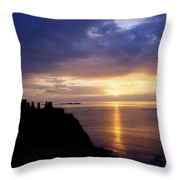 Dunluce Castle At Sunset, Co Antrim Throw Pillow by The Irish Image Collection