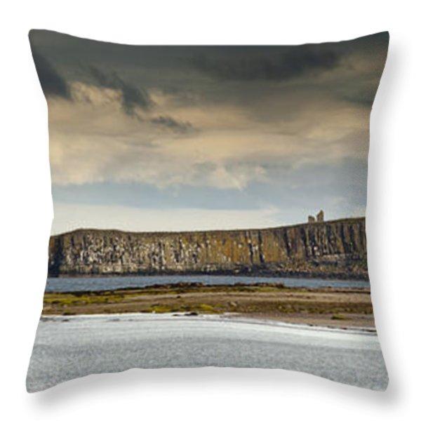 Dunstanburgh Castle On A Hill Under A Throw Pillow by John Short