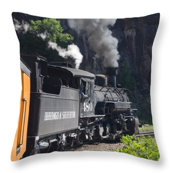 Durango And Silverton Historic Train Throw Pillow by Stuart Wilson and Photo Researchers