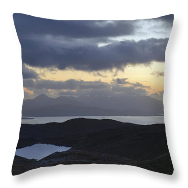 Dusk Panorama Of Skye Throw Pillow by Gary Eason