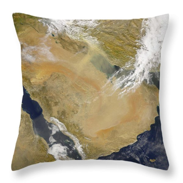 Dust And Smoke Over Iraq And The Middle Throw Pillow by Stocktrek Images