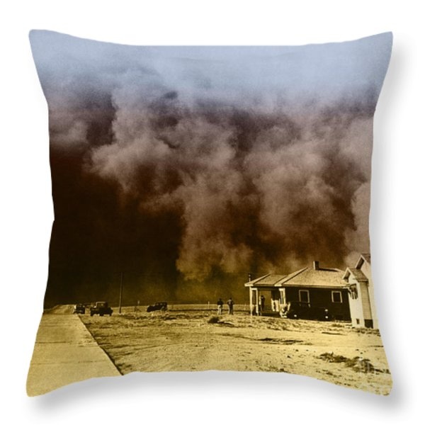 Dust Storm, 1930s Throw Pillow by Omikron
