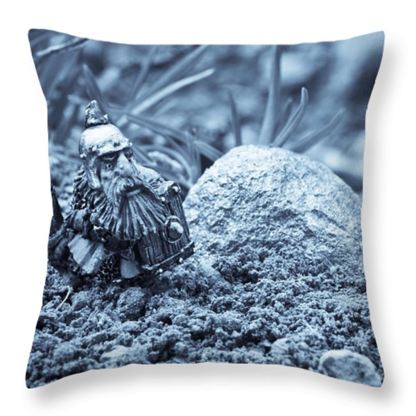Dwarf Lost In The Enchanted Forest Throw Pillow by Marc Garrido