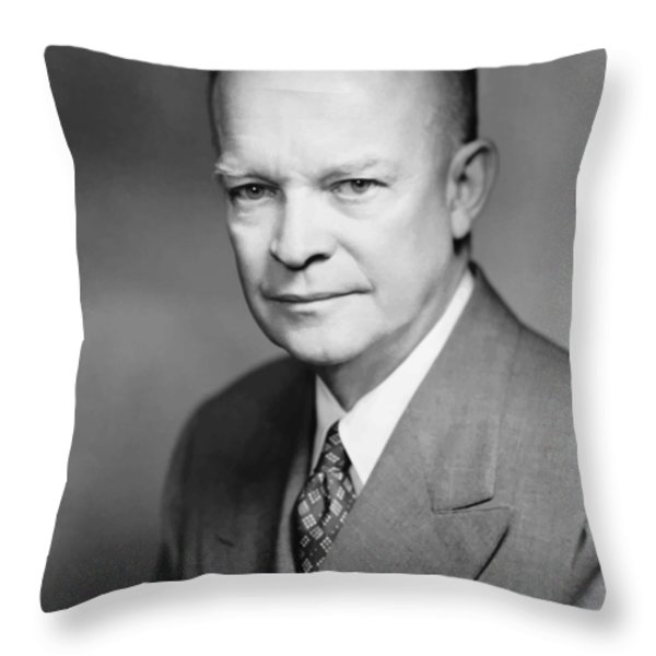Dwight Eisenhower Throw Pillow by War Is Hell Store