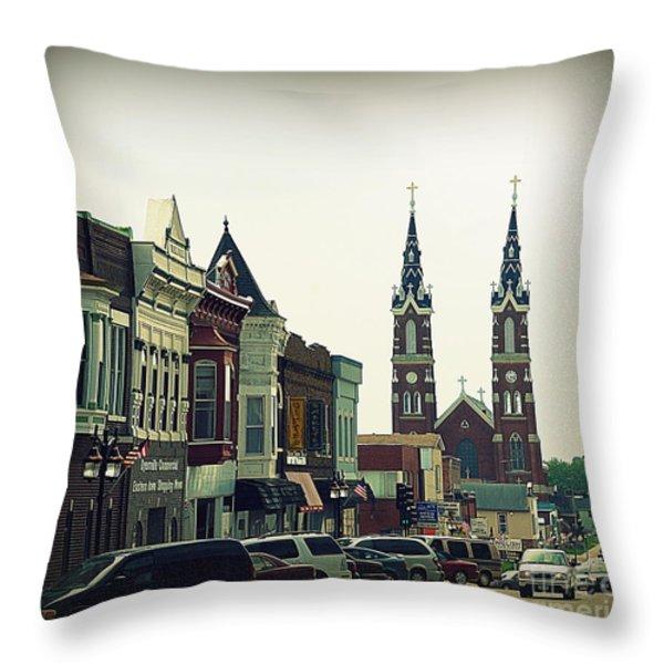 Dyersville in Iowa Throw Pillow by Susanne Van Hulst