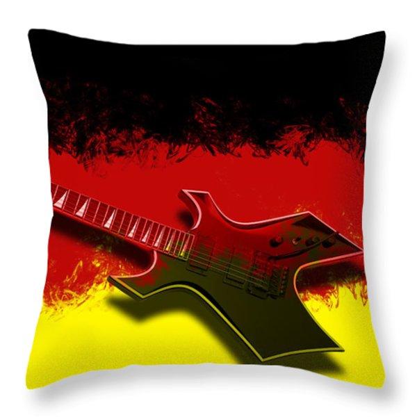 E-Guitar - German Rock II Throw Pillow by Melanie Viola