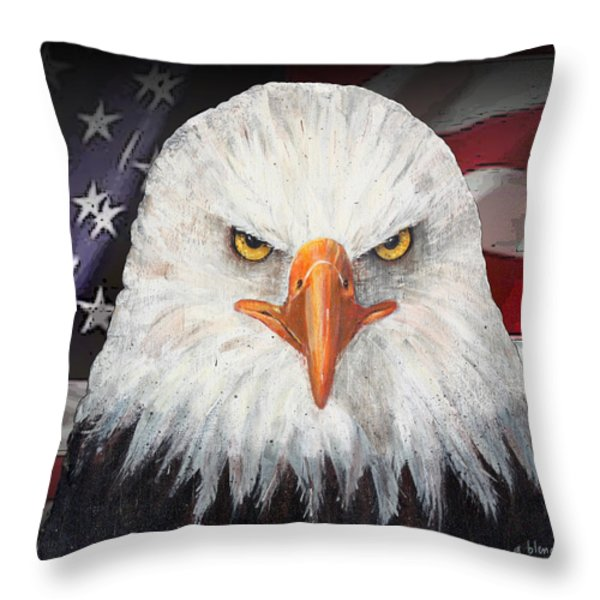 Eagle And The Flag Throw Pillow by Arline Wagner