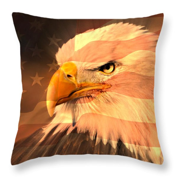 Eagle On Flag Throw Pillow by Marty Koch