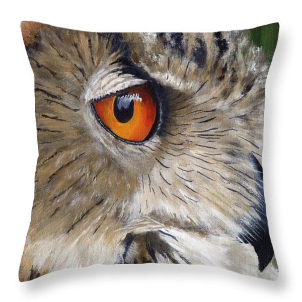 Eagle Owl Throw Pillow by Mike Lester