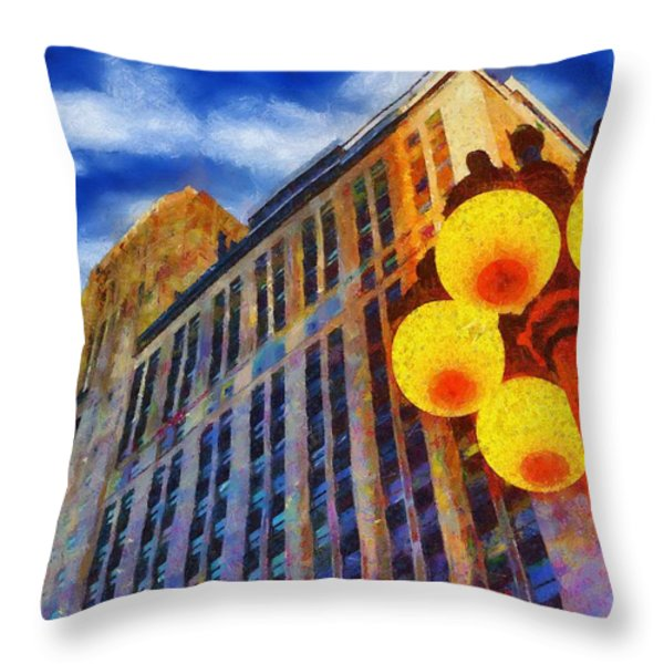 Early Evening Lights Throw Pillow by Jeff Kolker