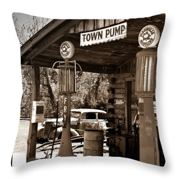 Early Gas Station Throw Pillow by Douglas Barnett