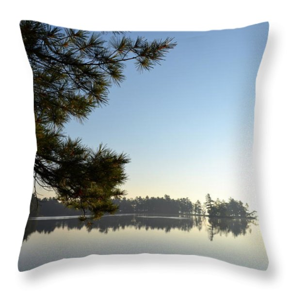 Early Morning On Lost Lake Throw Pillow by Michelle Calkins