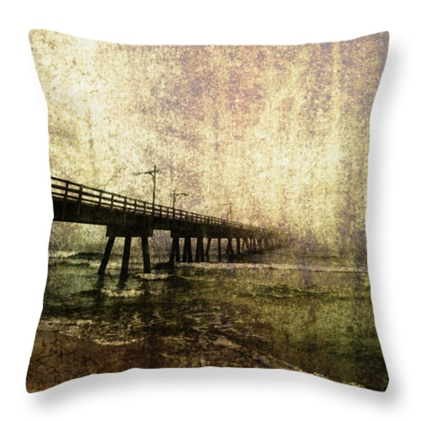 Early Morning Pier Throw Pillow by Skip Nall