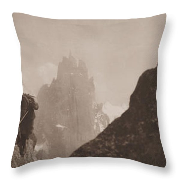 Early Mountaineering In The Alps Throw Pillow by Georges Tairraz