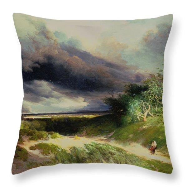 East Hamptonlong Island Sand Dunes Throw Pillow by Thomas Moran