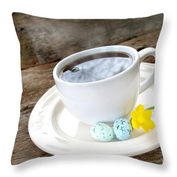 Easter Coffee Throw Pillow by Darren Fisher