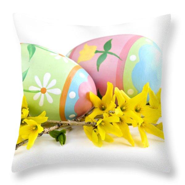Easter eggs Throw Pillow by Elena Elisseeva