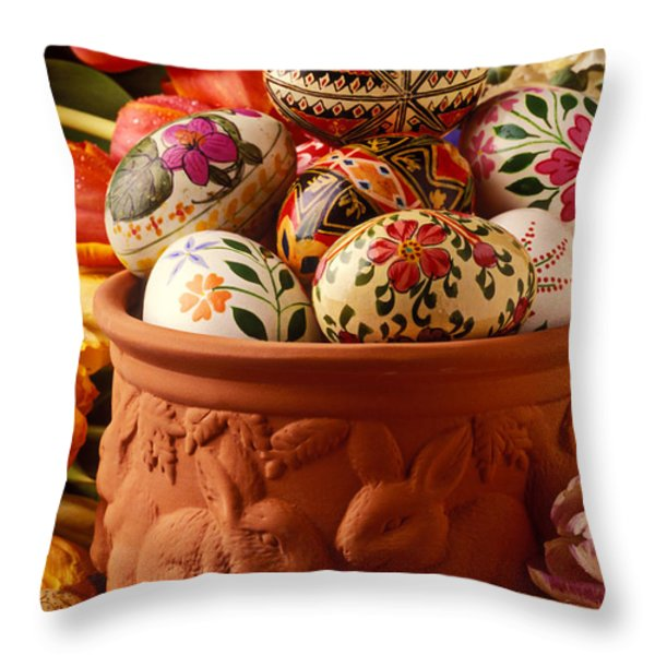 Easter Eggs In Flower Pot Throw Pillow by Garry Gay