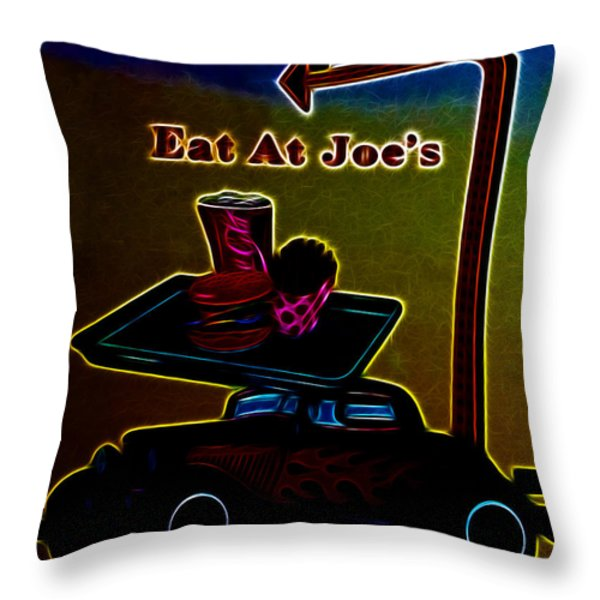 Eat at Joes Throw Pillow by Cheryl Young