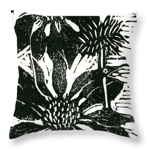 Echinacea block print Throw Pillow by Ellen Miffitt